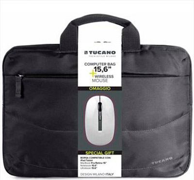 TUCANO Borsa PC BAG 15.6 + Mouse Bianco