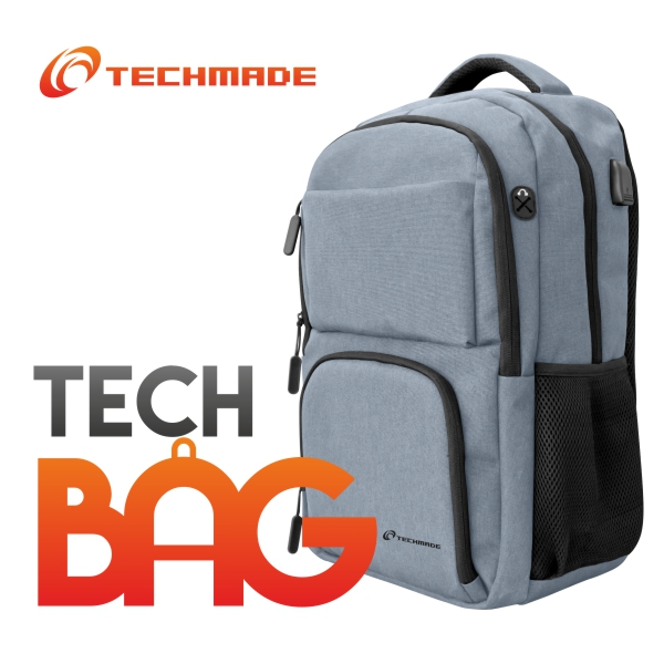 TECHMADE ZAINO TECHBAG-O -GRAY GRIGIO