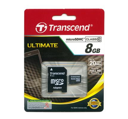 TRANSCEND MICRO SD 8GB 2 IN 1 HC10