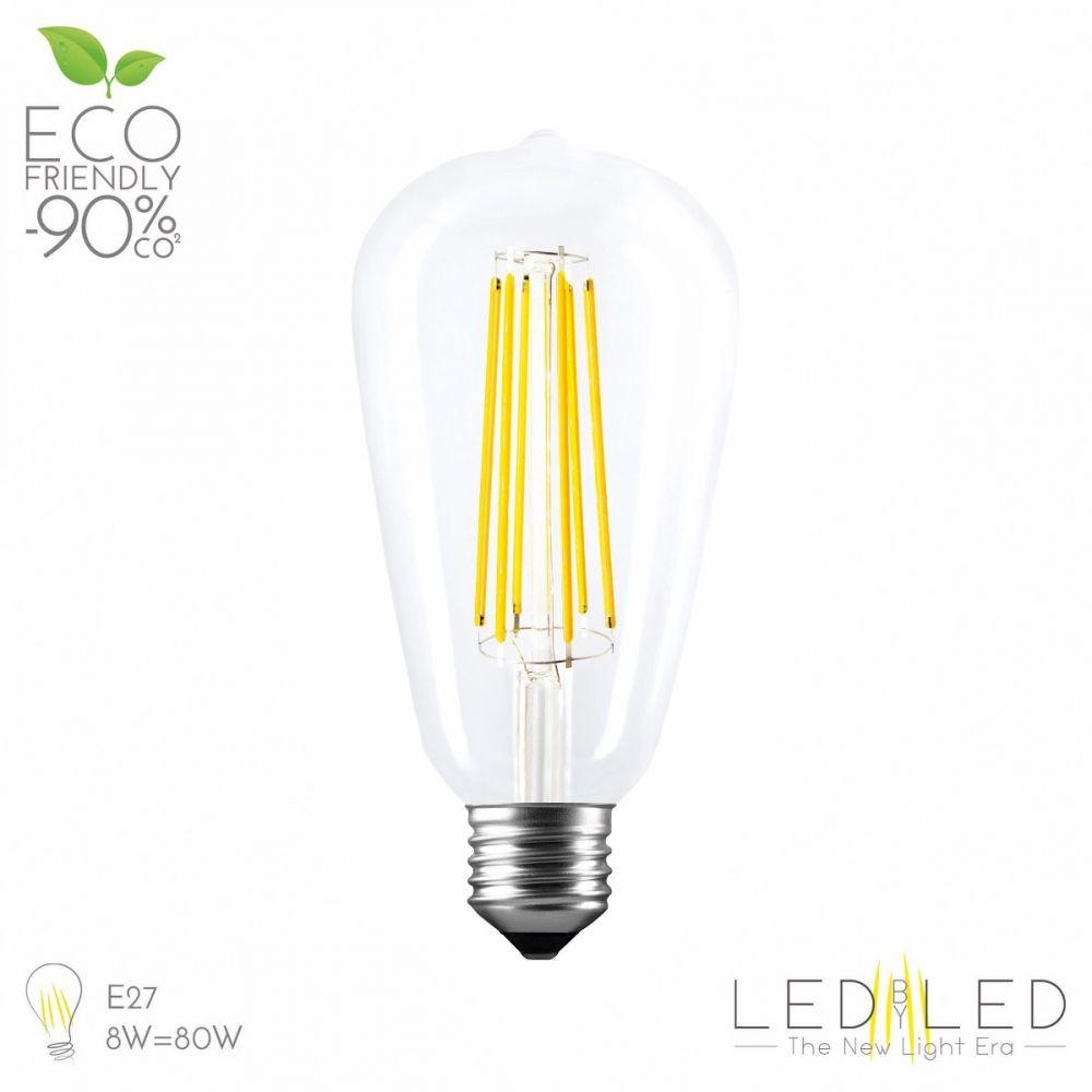 LEDBYLED FILED EDISON CLEAR 2700 E27 8W