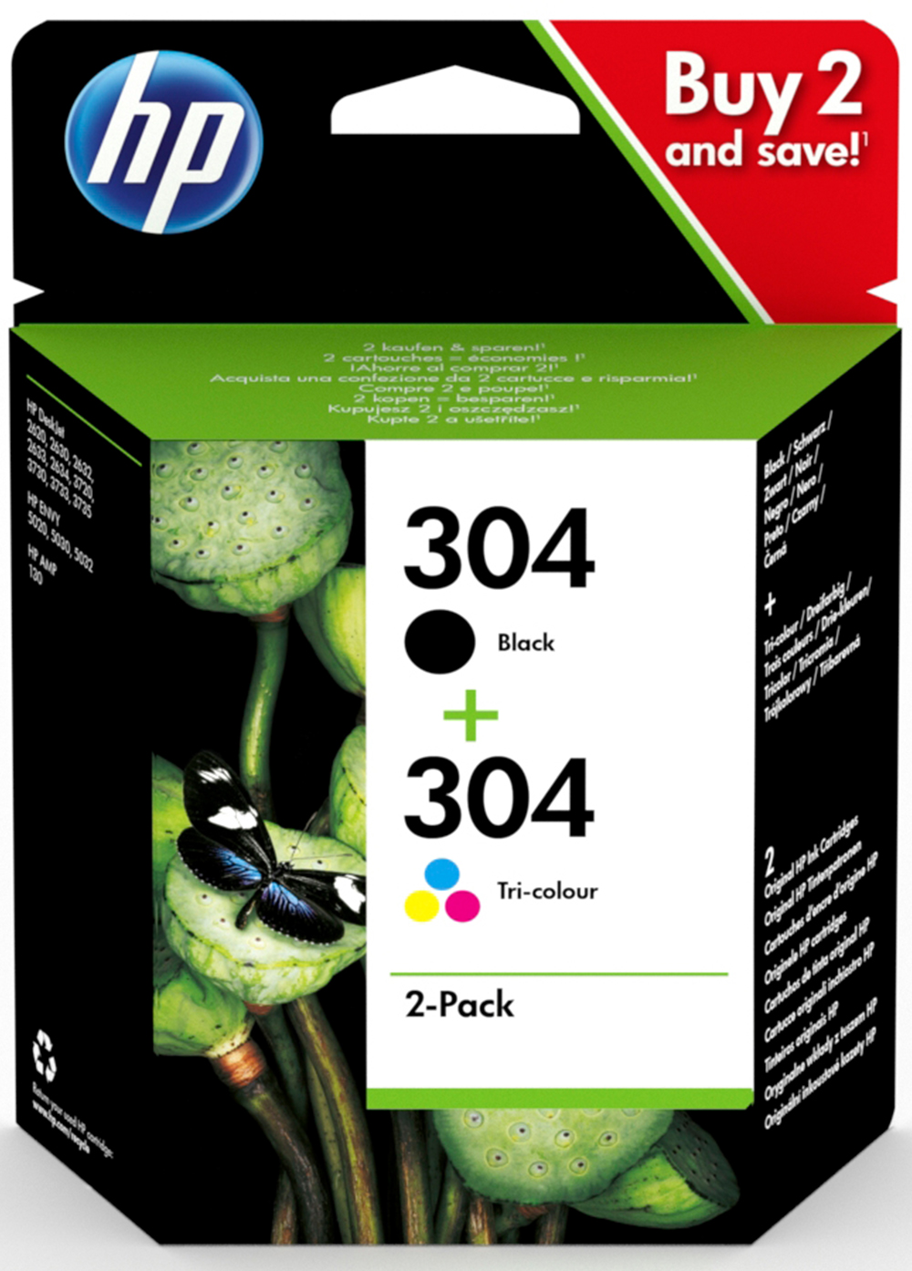 HP 3JB05AE#301 304 INK CARTRIGDE PACK 2