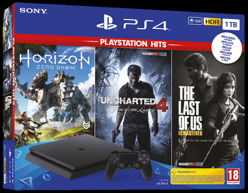 SONY PS4 1TB +HZD+TLOU+UC4 (HITS)